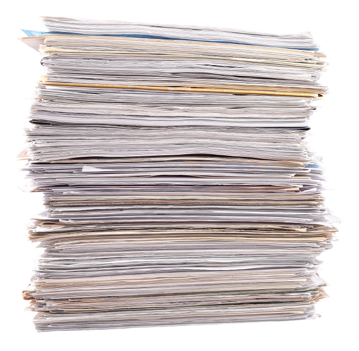 Stack of paper on a white background